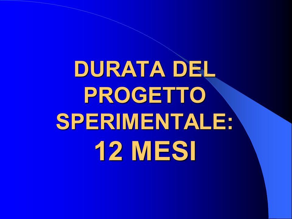 DURATA DEL PROGETTO SPERIMENTALE: 12 MESI