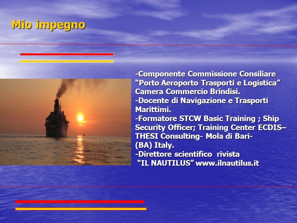 -Componente Commissione Consiliare Porto Aeroporto Trasporti e Logistica Camera Commercio Brindisi. -Docente di Navigazione e Trasporti Marittimi. -Fo