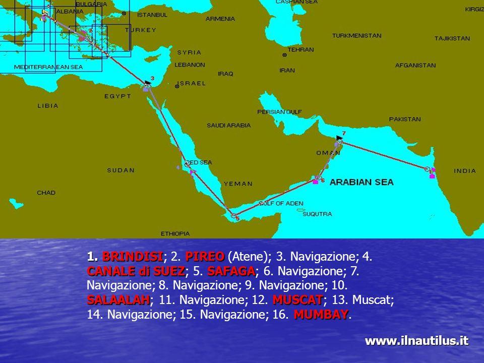 1. BRINDISIPIREO CANALE di SUEZSAFAGA SALAALAHMUSCAT MUMBAY 1. BRINDISI; 2. PIREO (Atene); 3. Navigazione; 4. CANALE di SUEZ; 5. SAFAGA; 6. Navigazion