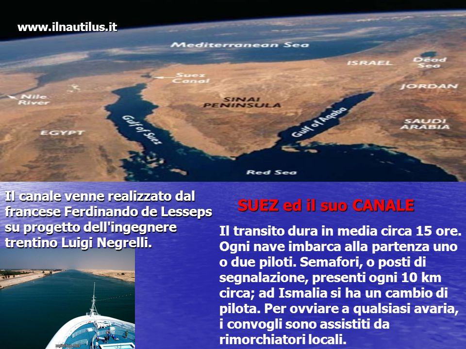Il canale venne realizzato dal francese Ferdinando de Lesseps su progetto dell'ingegnere trentino Luigi Negrelli. Il transito dura in media circa 15 o
