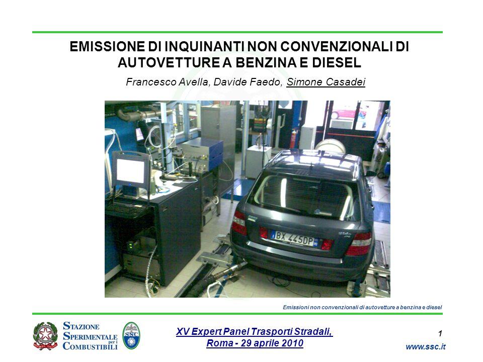 12 www.ssc.it XV Expert Panel Trasporti Stradali, Roma - 29 aprile 2010 Emissioni non convenzionali di autovetture a benzina e diesel Analisi dei risultati (5) Emissione di particolato totale < 5 mg/km - Inferiore standard Euro 5 85 ~ 95 % PM di A costituito da frazione carboniosa - soot