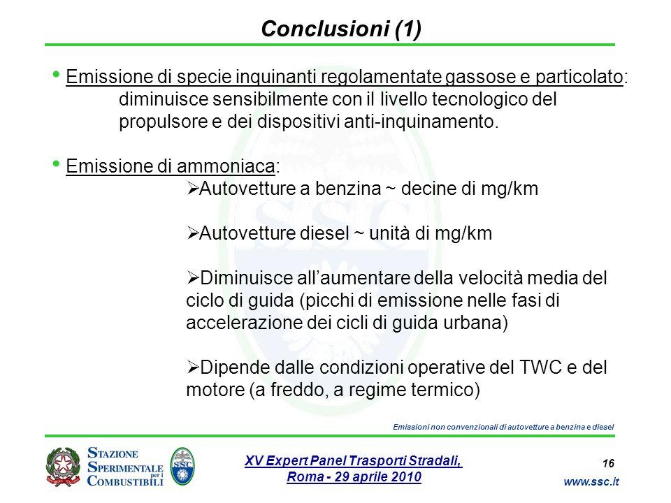 16 www.ssc.it XV Expert Panel Trasporti Stradali, Roma - 29 aprile 2010 Emissioni non convenzionali di autovetture a benzina e diesel Conclusioni (1)