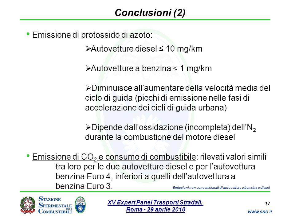 17 www.ssc.it XV Expert Panel Trasporti Stradali, Roma - 29 aprile 2010 Emissioni non convenzionali di autovetture a benzina e diesel Conclusioni (2)