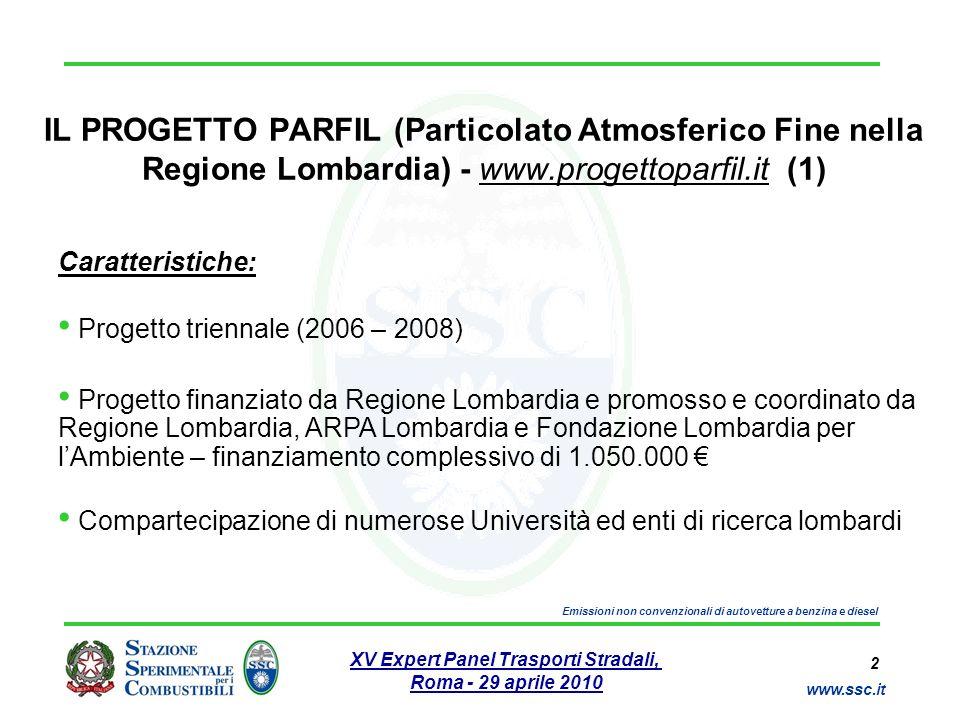 2 www.ssc.it XV Expert Panel Trasporti Stradali, Roma - 29 aprile 2010 Emissioni non convenzionali di autovetture a benzina e diesel IL PROGETTO PARFI