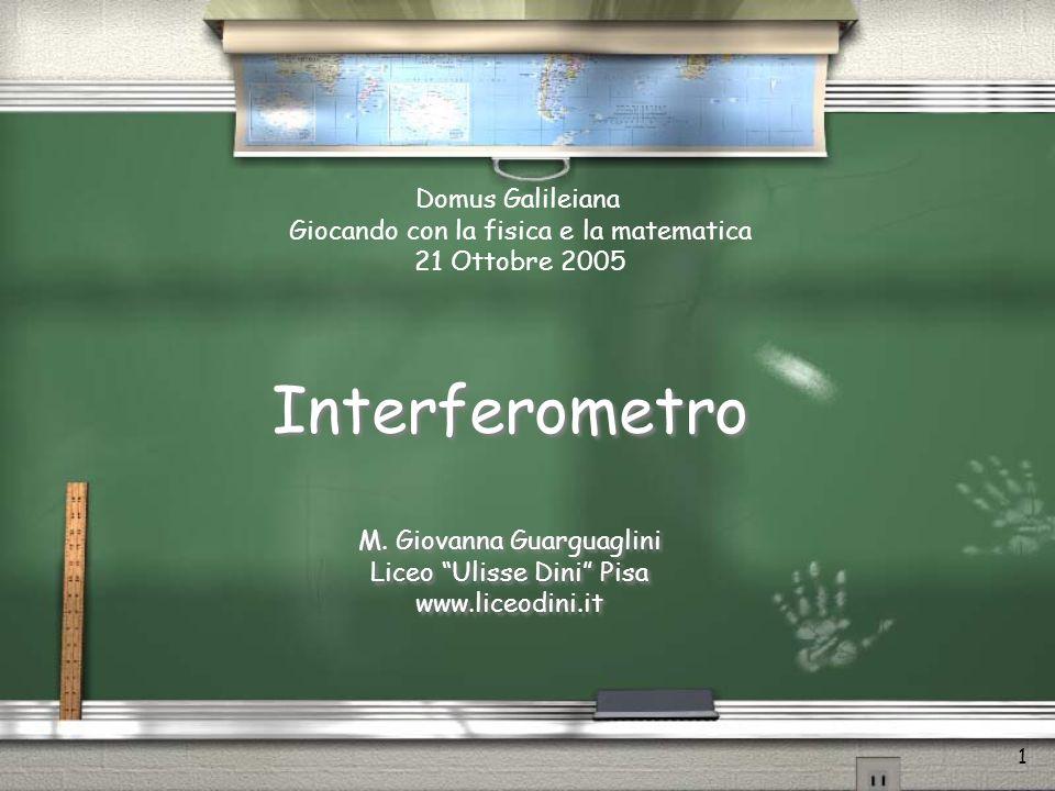 1 Interferometro M.Giovanna Guarguaglini Liceo Ulisse Dini Pisa www.liceodini.it M.
