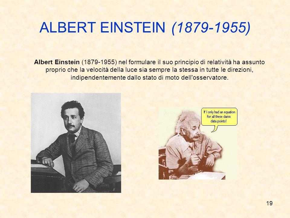 18 ALBERT MICHELSON (1852-1931) EDWARD MORLEY (1838 -1923) Albert Michelson (1852-1931) ed Edward Morley (1838-1923) pensarono di effettuare una doppi