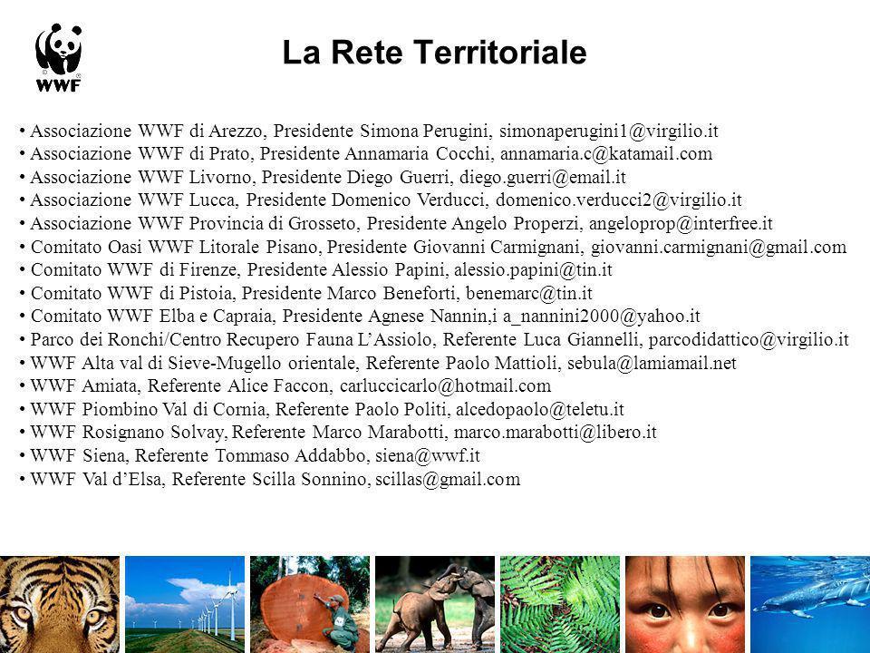 La Rete Territoriale Associazione WWF di Arezzo, Presidente Simona Perugini, simonaperugini1@virgilio.it Associazione WWF di Prato, Presidente Annamar