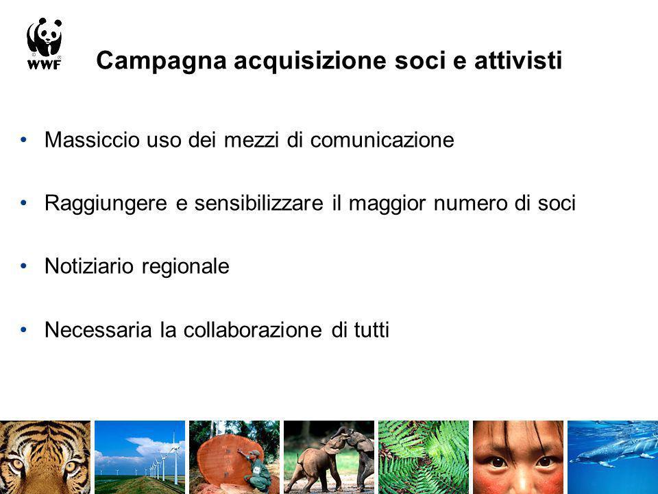 Campagna acquisizione soci e attivisti Massiccio uso dei mezzi di comunicazione Raggiungere e sensibilizzare il maggior numero di soci Notiziario regi