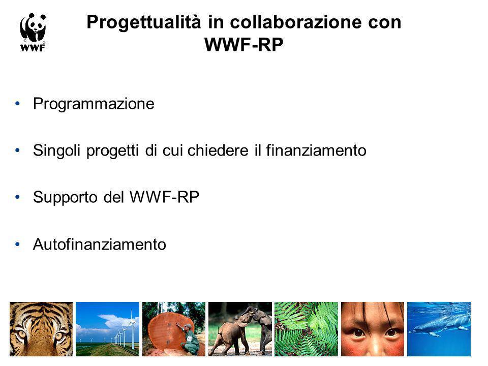 Progettualità in collaborazione con WWF-RP Programmazione Singoli progetti di cui chiedere il finanziamento Supporto del WWF-RP Autofinanziamento
