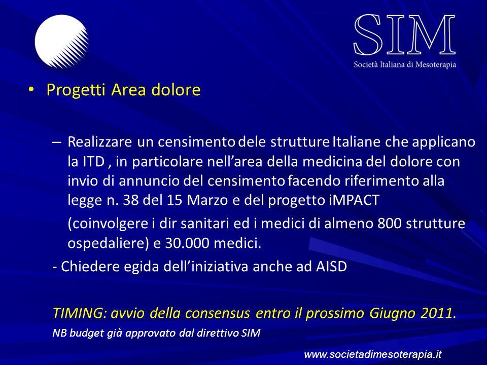 Progetti Area dolore – Realizzare un censimento dele strutture Italiane che applicano la ITD, in particolare nellarea della medicina del dolore con in