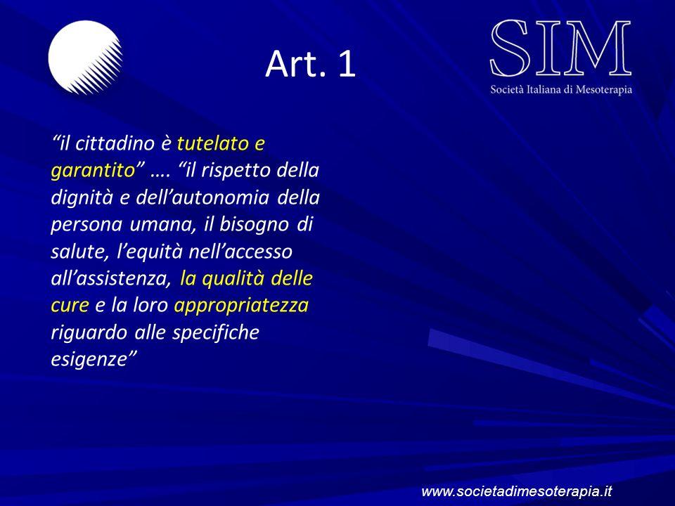 Art. 1 il cittadino è tutelato e garantito …. il rispetto della dignità e dellautonomia della persona umana, il bisogno di salute, lequità nellaccesso
