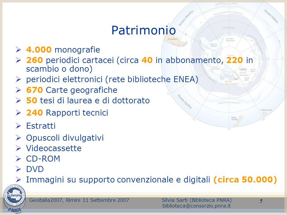 5 Patrimonio 4.000 monografie 260 periodici cartacei (circa 40 in abbonamento, 220 in scambio o dono) periodici elettronici (rete biblioteche ENEA) 67