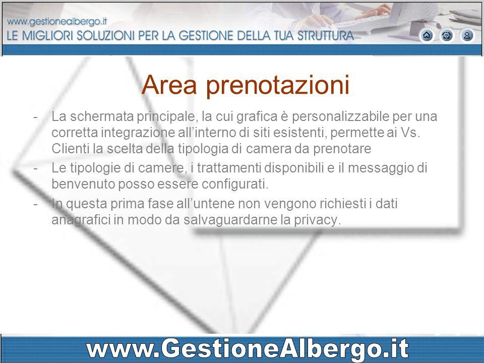 Area prenotazioni -La schermata principale, la cui grafica è personalizzabile per una corretta integrazione allinterno di siti esistenti, permette ai