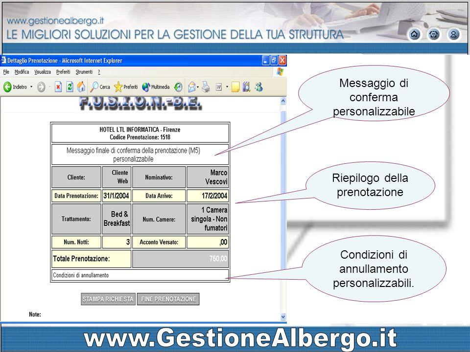 Area prenotazioni Riepilogo della prenotazione Messaggio di conferma personalizzabile Condizioni di annullamento personalizzabili.