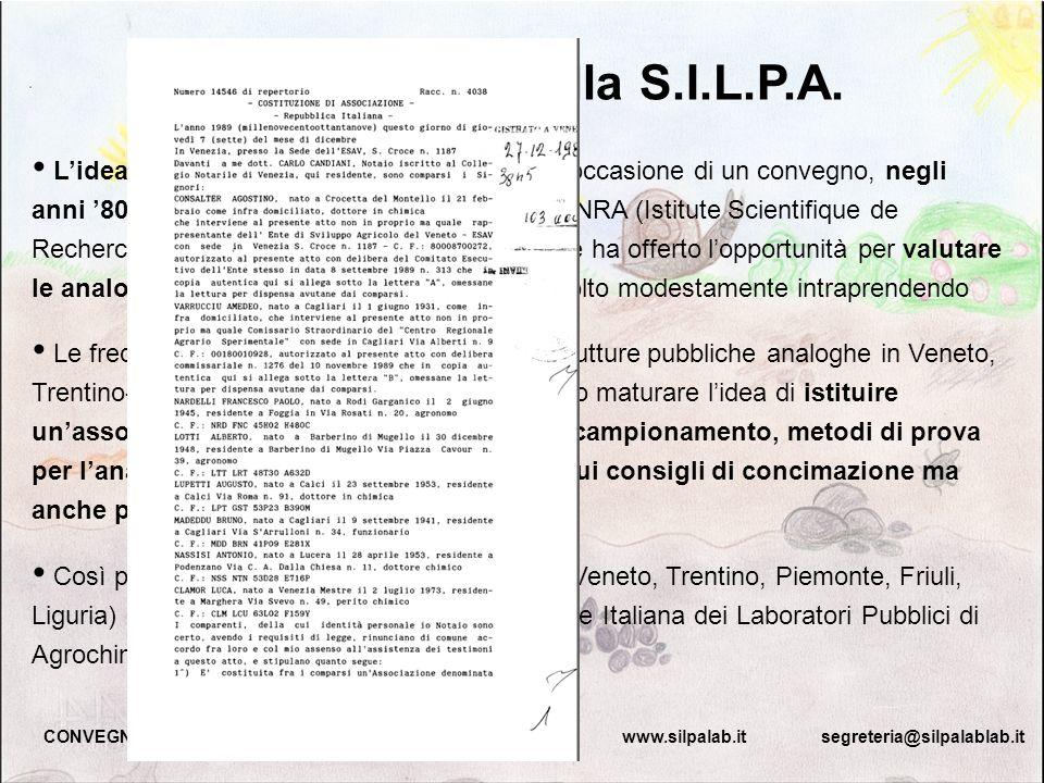 Lidea dellassociazione S.I.L.P.A. nasce in occasione di un convegno, negli anni 80, sullanalisi dei suoli organizzato dall INRA (Istitute Scientifique
