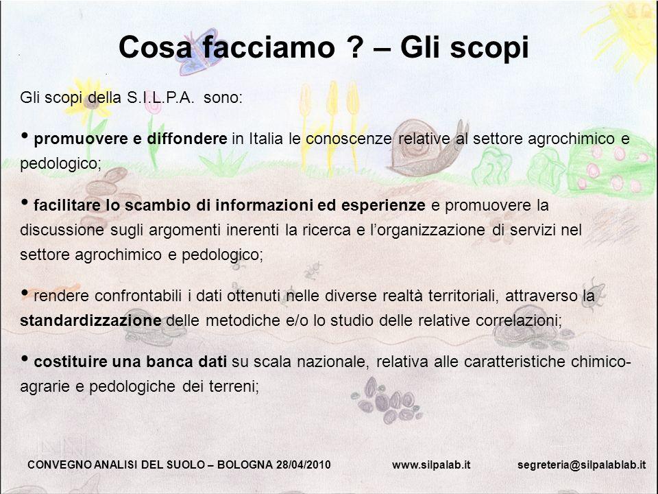 Gli scopi della S.I.L.P.A. sono: promuovere e diffondere in Italia le conoscenze relative al settore agrochimico e pedologico; facilitare lo scambio d