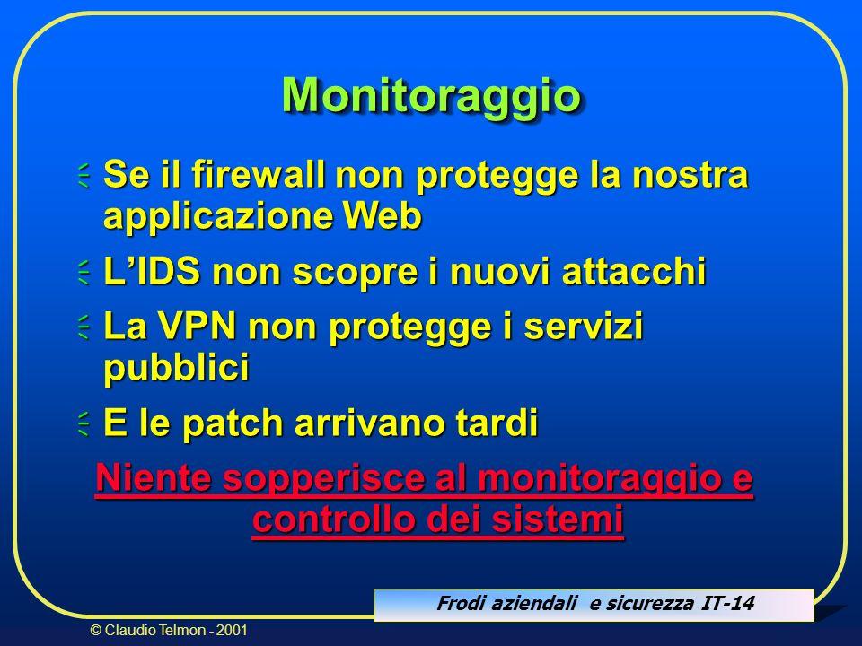 Frodi aziendali e sicurezza IT-14 © Claudio Telmon - 2001 MonitoraggioMonitoraggio Se il firewall non protegge la nostra applicazione Web Se il firewa