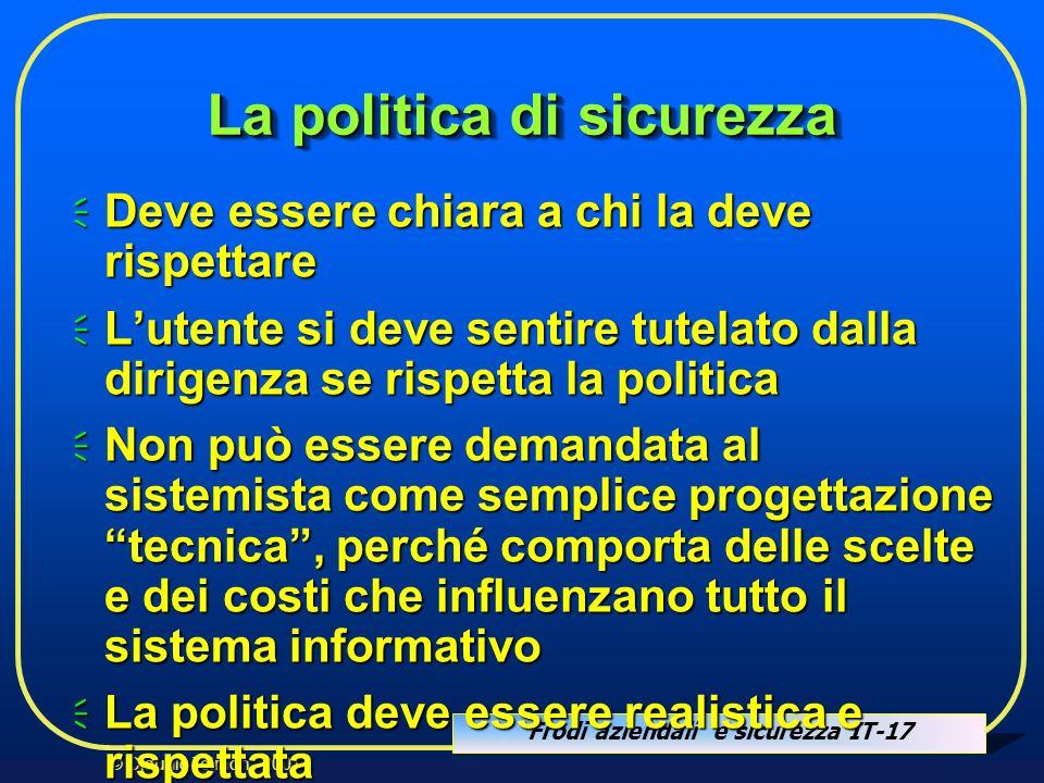 Frodi aziendali e sicurezza IT-17 © Claudio Telmon - 2001 La politica di sicurezza Deve essere chiara a chi la deve rispettare Deve essere chiara a ch