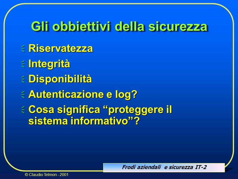 Frodi aziendali e sicurezza IT-2 © Claudio Telmon - 2001 Gli obbiettivi della sicurezza Riservatezza Riservatezza Integrità Integrità Disponibilità Di