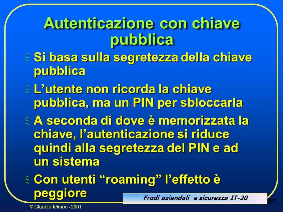 Frodi aziendali e sicurezza IT-20 © Claudio Telmon - 2001 Autenticazione con chiave pubblica Si basa sulla segretezza della chiave pubblica Si basa su