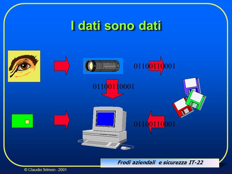 Frodi aziendali e sicurezza IT-22 © Claudio Telmon - 2001 01100110001 I dati sono dati