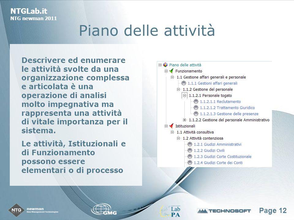 Page 12 NTGLab.it NTG newman 2011 Piano delle attività Descrivere ed enumerare le attività svolte da una organizzazione complessa e articolata è una operazione di analisi molto impegnativa ma rappresenta una attività di vitale importanza per il sistema.