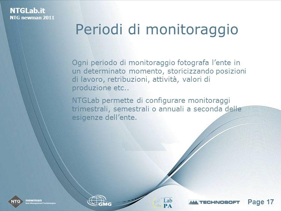 Page 17 NTGLab.it NTG newman 2011 Periodi di monitoraggio Ogni periodo di monitoraggio fotografa lente in un determinato momento, storicizzando posizioni di lavoro, retribuzioni, attività, valori di produzione etc..