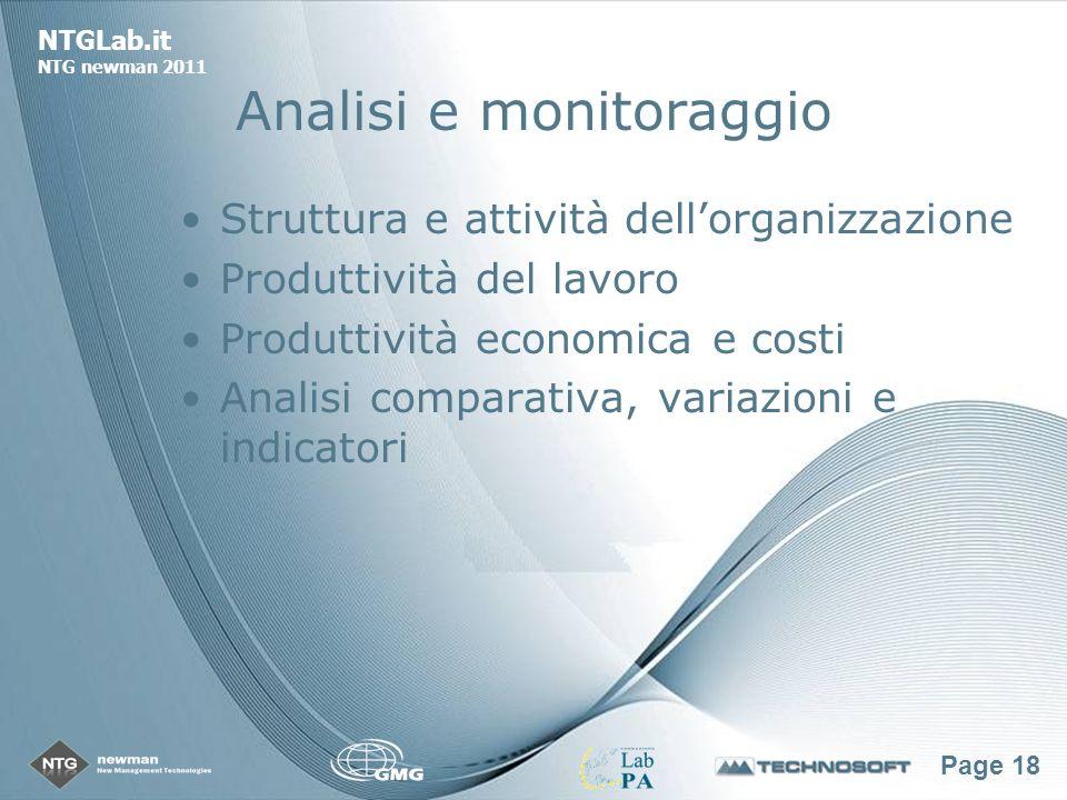Page 18 NTGLab.it NTG newman 2011 Analisi e monitoraggio Struttura e attività dellorganizzazione Produttività del lavoro Produttività economica e costi Analisi comparativa, variazioni e indicatori