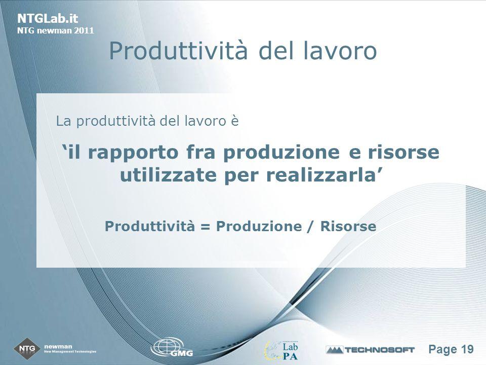Page 19 NTGLab.it NTG newman 2011 Produttività del lavoro La produttività del lavoro è il rapporto fra produzione e risorse utilizzate per realizzarla Produttività = Produzione / Risorse