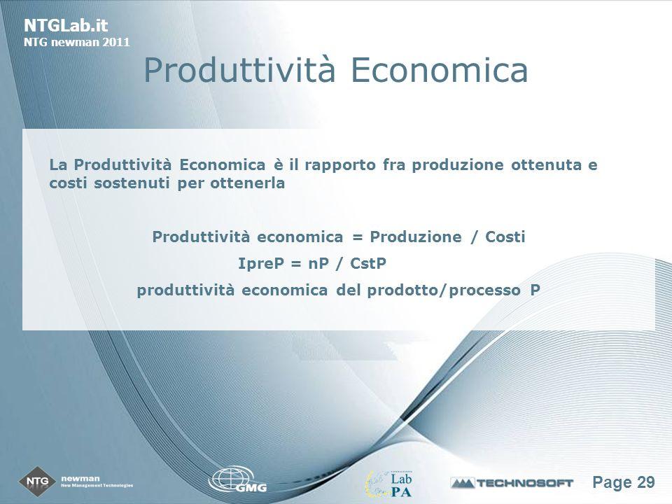 Page 29 NTGLab.it NTG newman 2011 Produttività Economica La Produttività Economica è il rapporto fra produzione ottenuta e costi sostenuti per ottenerla Produttività economica = Produzione / Costi IpreP = nP / CstP produttività economica del prodotto/processo P