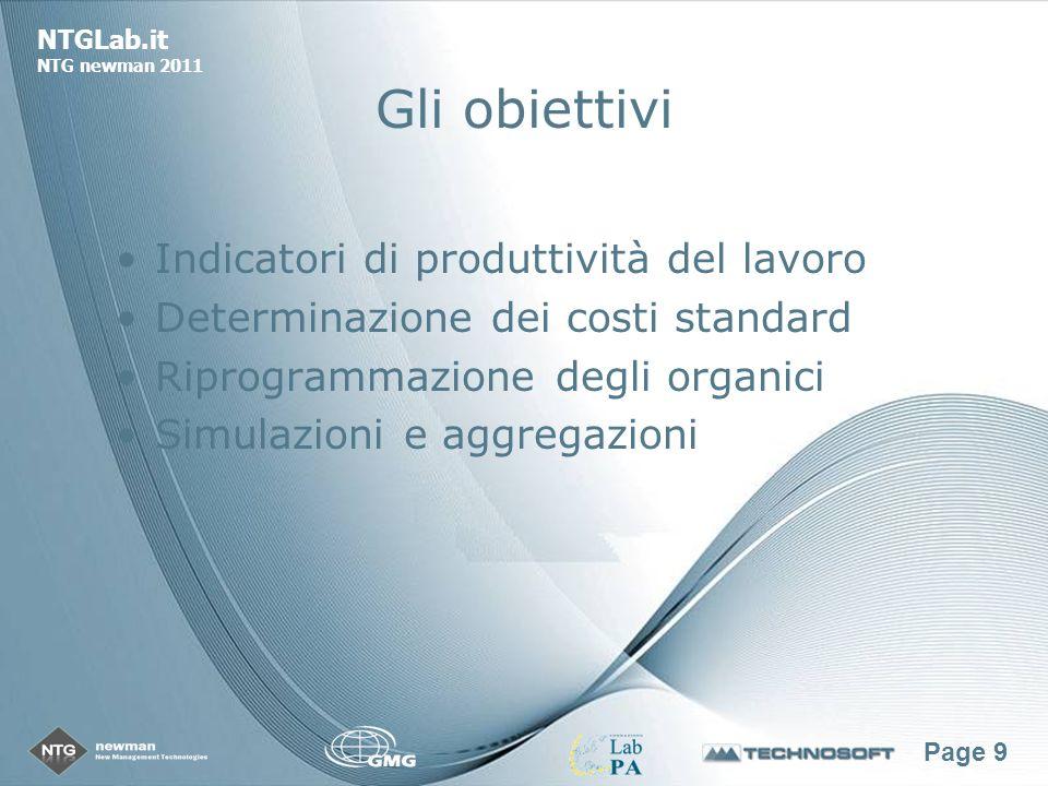Page 9 NTGLab.it NTG newman 2011 Gli obiettivi Indicatori di produttività del lavoro Determinazione dei costi standard Riprogrammazione degli organici Simulazioni e aggregazioni