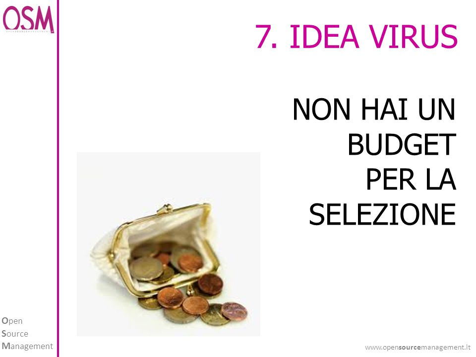 O pen S ource M anagement www.opensourcemanagement.it 7. IDEA VIRUS NON HAI UN BUDGET PER LA SELEZIONE