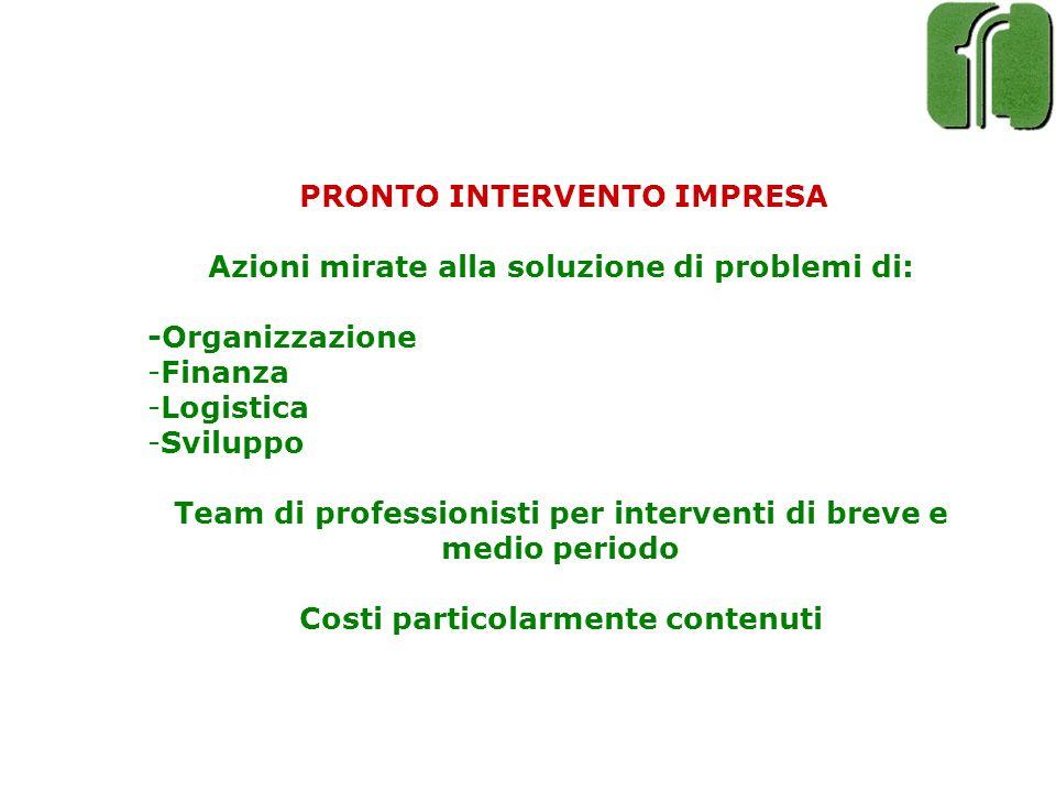 PRONTO INTERVENTO IMPRESA Azioni mirate alla soluzione di problemi di: -Organizzazione -Finanza -Logistica -Sviluppo Team di professionisti per interv