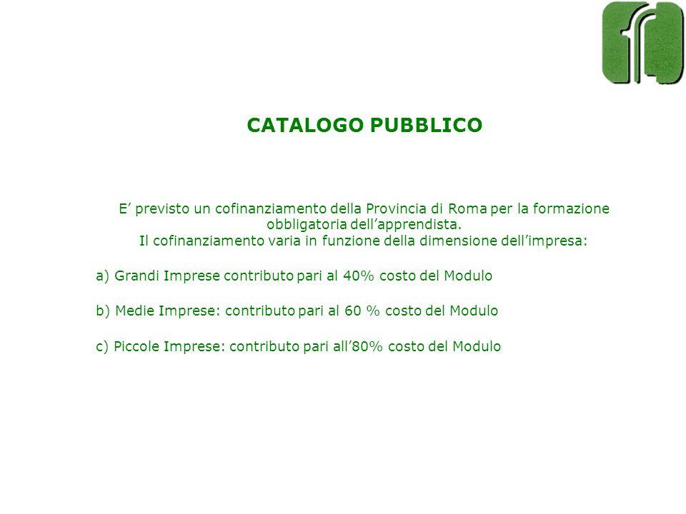 CATALOGO PUBBLICO E previsto un cofinanziamento della Provincia di Roma per la formazione obbligatoria dellapprendista. Il cofinanziamento varia in fu