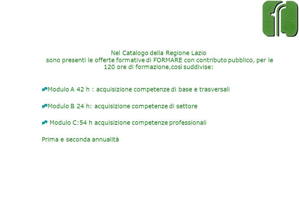 Nel Catalogo della Regione Lazio sono presenti le offerte formative di FORMARE con contributo pubblico, per le 120 ore di formazione,così suddivise: M