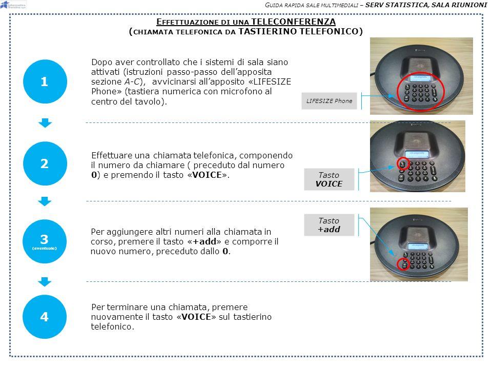 G UIDA RAPIDA SALE MULTIMEDIALI – SERV STATISTICA, SALA RIUNIONI E FFETTUAZIONE DI UNA TELECONFERENZA ( CHIAMATA TELEFONICA DA TASTIERINO TELEFONICO) Dopo aver controllato che i sistemi di sala siano attivati (istruzioni passo-passo dellapposita sezione A-C), avvicinarsi allapposito «LIFESIZE Phone» (tastiera numerica con microfono al centro del tavolo).