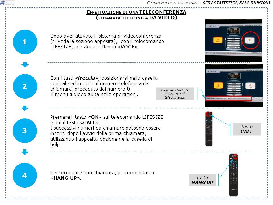 G UIDA RAPIDA SALE MULTIMEDIALI – SERV STATISTICA, SALA RIUNIONI E FFETTUAZIONE DI UNA TELECONFERENZA ( CHIAMATA TELEFONICA DA VIDEO) Dopo aver attivato il sistema di videoconferenza (si veda la sezione apposita), con il telecomando LIFESIZE, selezionare licona «VOCE».