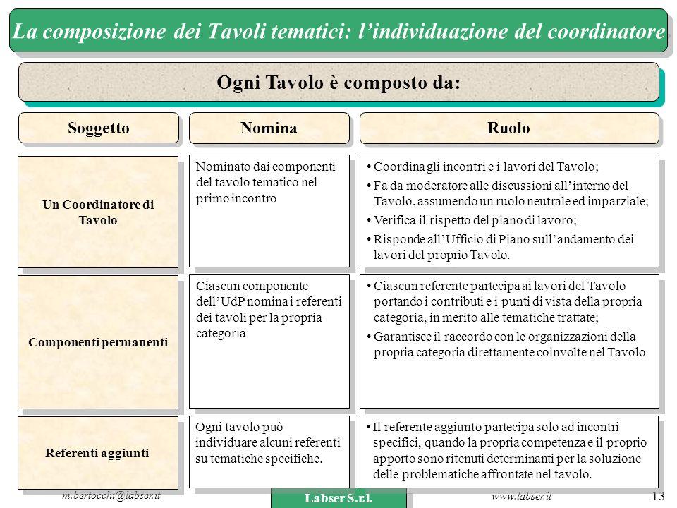 www.labser.it m.bertocchi@labser.it Labser S.r.l. 13 La composizione dei Tavoli tematici: lindividuazione del coordinatore Ogni Tavolo è composto da: