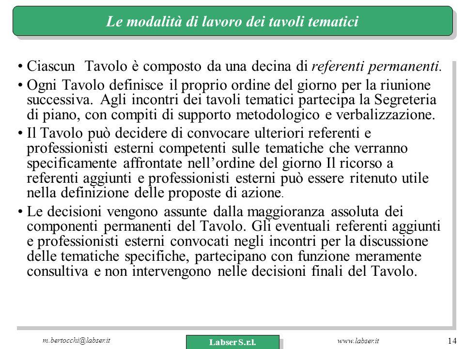 www.labser.it m.bertocchi@labser.it Labser S.r.l. 14 Le modalità di lavoro dei tavoli tematici Ciascun Tavolo è composto da una decina di referenti pe