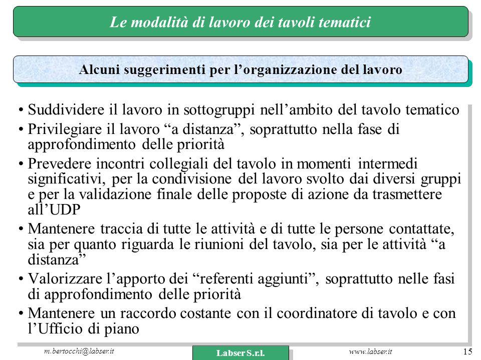 www.labser.it m.bertocchi@labser.it Labser S.r.l. 15 Le modalità di lavoro dei tavoli tematici Suddividere il lavoro in sottogruppi nellambito del tav