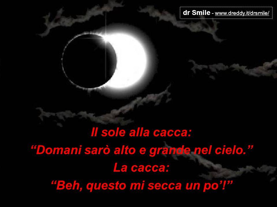dr Smile - www.dreddy.it/drsmile/ Il sole alla cacca: Domani sarò alto e grande nel cielo. La cacca: Beh, questo mi secca un po!