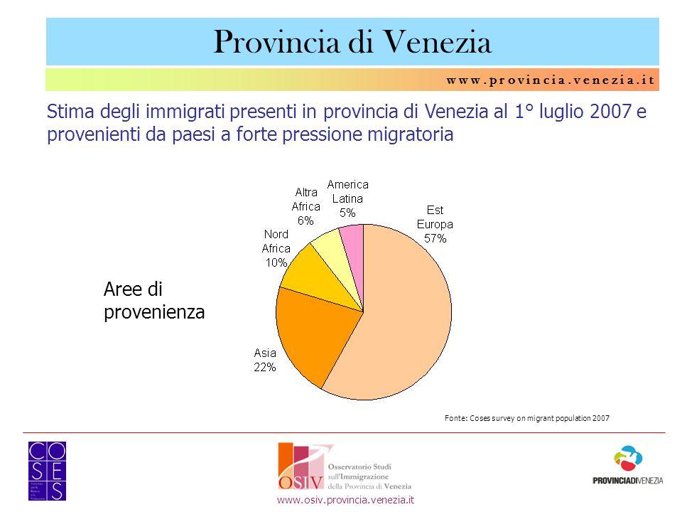 w w w. p r o v i n c i a. v e n e z i a. i t www.osiv.provincia.venezia.it Provincia di Venezia Stima degli immigrati presenti in provincia di Venezia