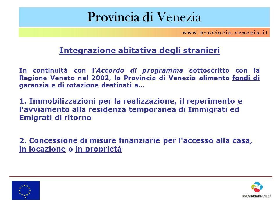 Provincia di Venezia w w w. p r o v i n c i a. v e n e z i a. i t Integrazione abitativa degli stranieri In continuità con lAccordo di programma sotto