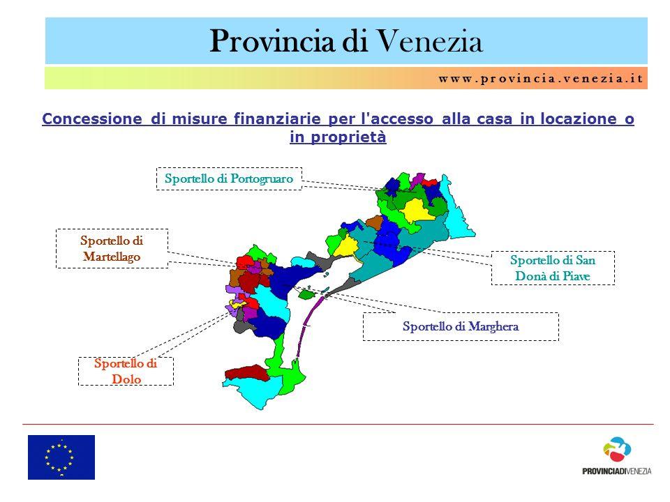 Provincia di Venezia w w w. p r o v i n c i a. v e n e z i a. i t Sportello di Dolo Sportello di Marghera Sportello di Martellago Sportello di Portogr