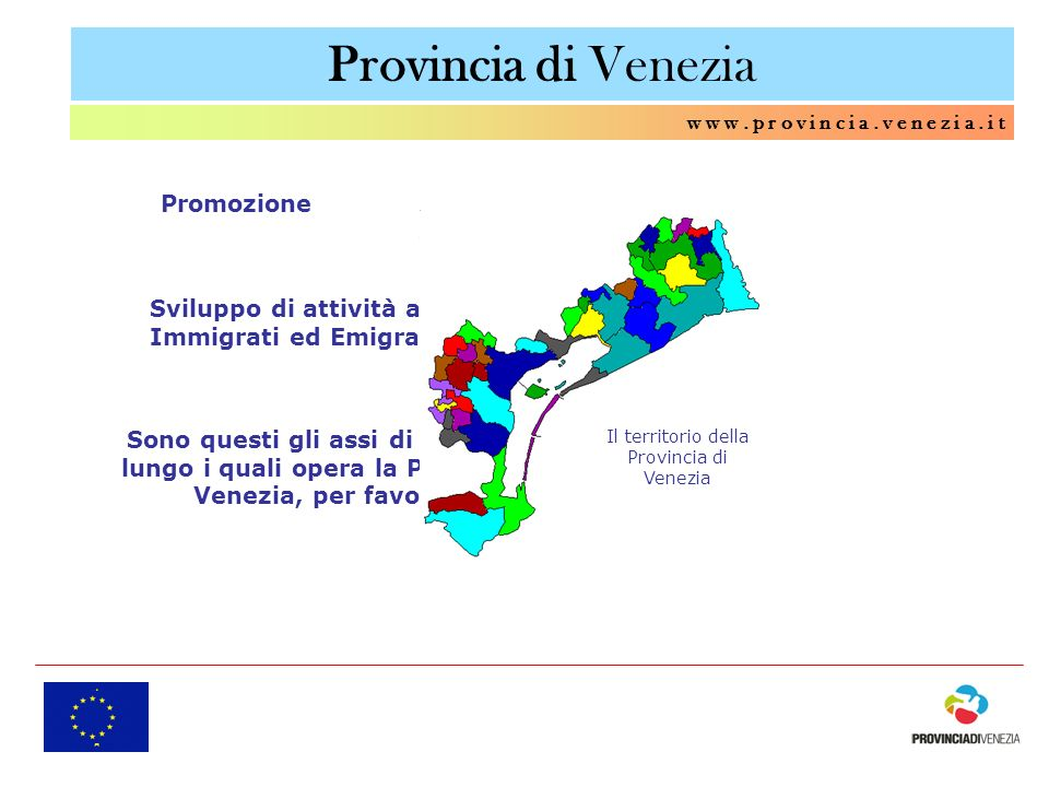 Provincia di Venezia w w w. p r o v i n c i a. v e n e z i a. i t Sviluppo di attività a favore degli Immigrati ed Emigranti di ritorno Sono questi gl