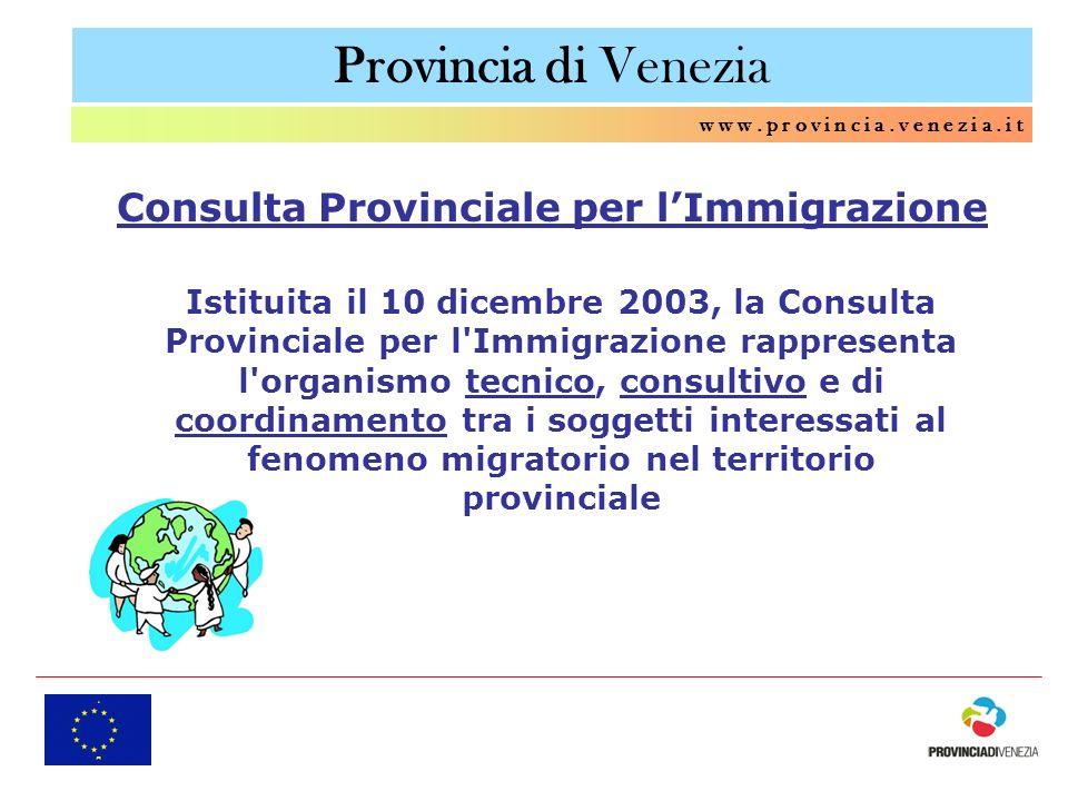 Provincia di Venezia w w w. p r o v i n c i a. v e n e z i a. i t Consulta Provinciale per lImmigrazione Istituita il 10 dicembre 2003, la Consulta Pr