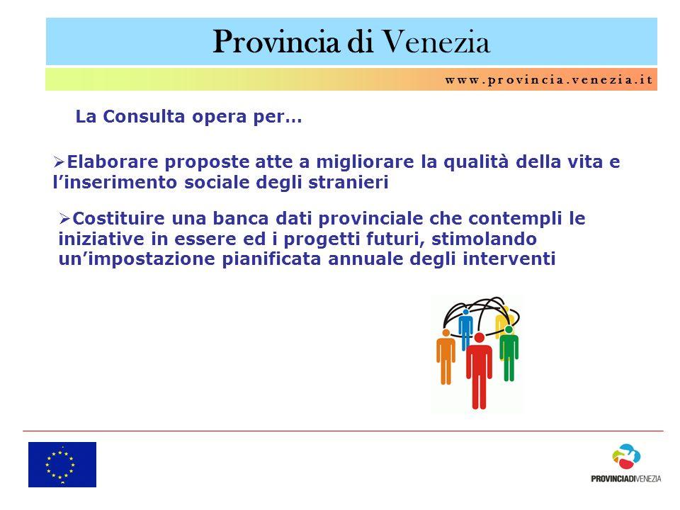 Provincia di Venezia w w w. p r o v i n c i a. v e n e z i a. i t Elaborare proposte atte a migliorare la qualità della vita e linserimento sociale de
