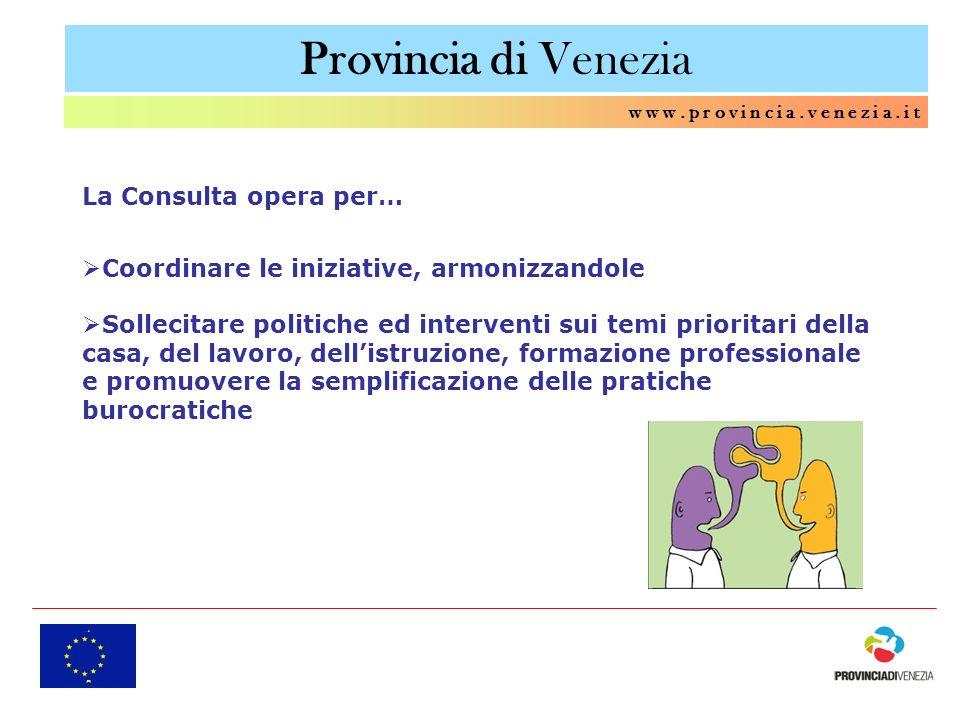 Provincia di Venezia w w w. p r o v i n c i a. v e n e z i a. i t Coordinare le iniziative, armonizzandole Sollecitare politiche ed interventi sui tem