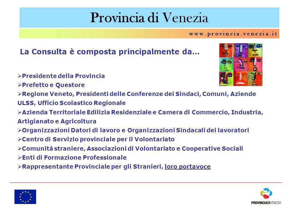 Provincia di Venezia w w w. p r o v i n c i a. v e n e z i a. i t Presidente della Provincia Prefetto e Questore Regione Veneto, Presidenti delle Conf