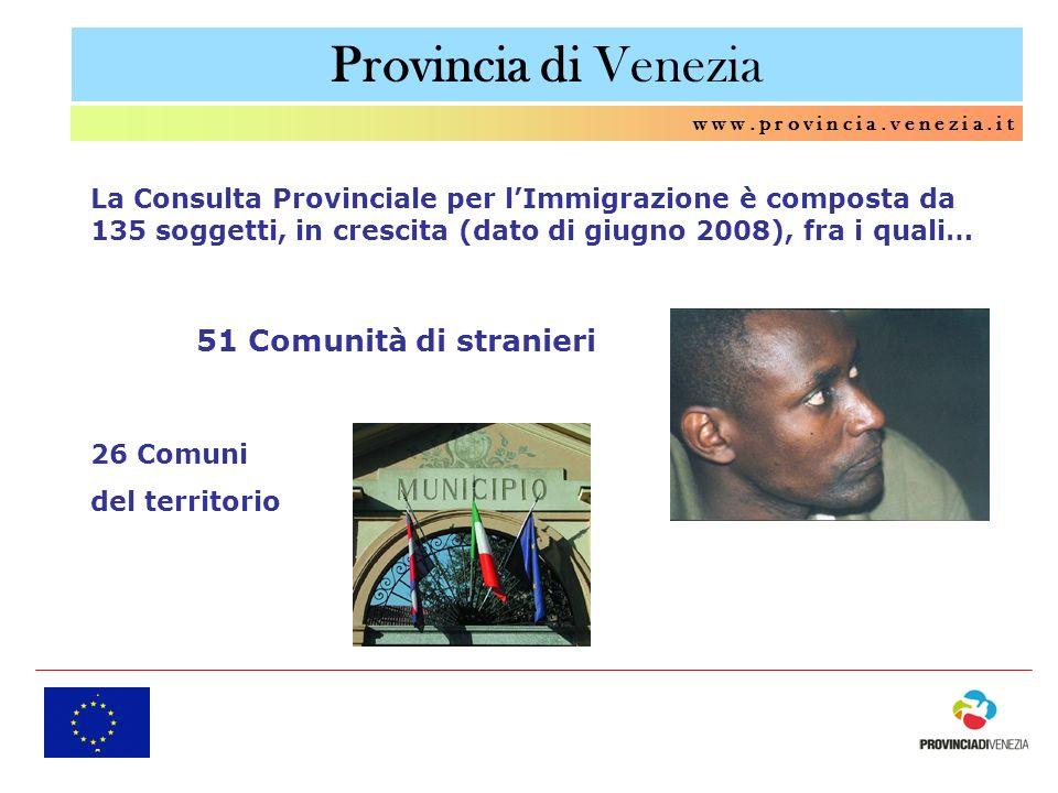 Provincia di Venezia w w w. p r o v i n c i a. v e n e z i a. i t La Consulta Provinciale per lImmigrazione è composta da 135 soggetti, in crescita (d